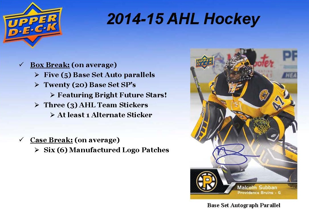2014-15 Upper Deck AHL Hockey Checklist