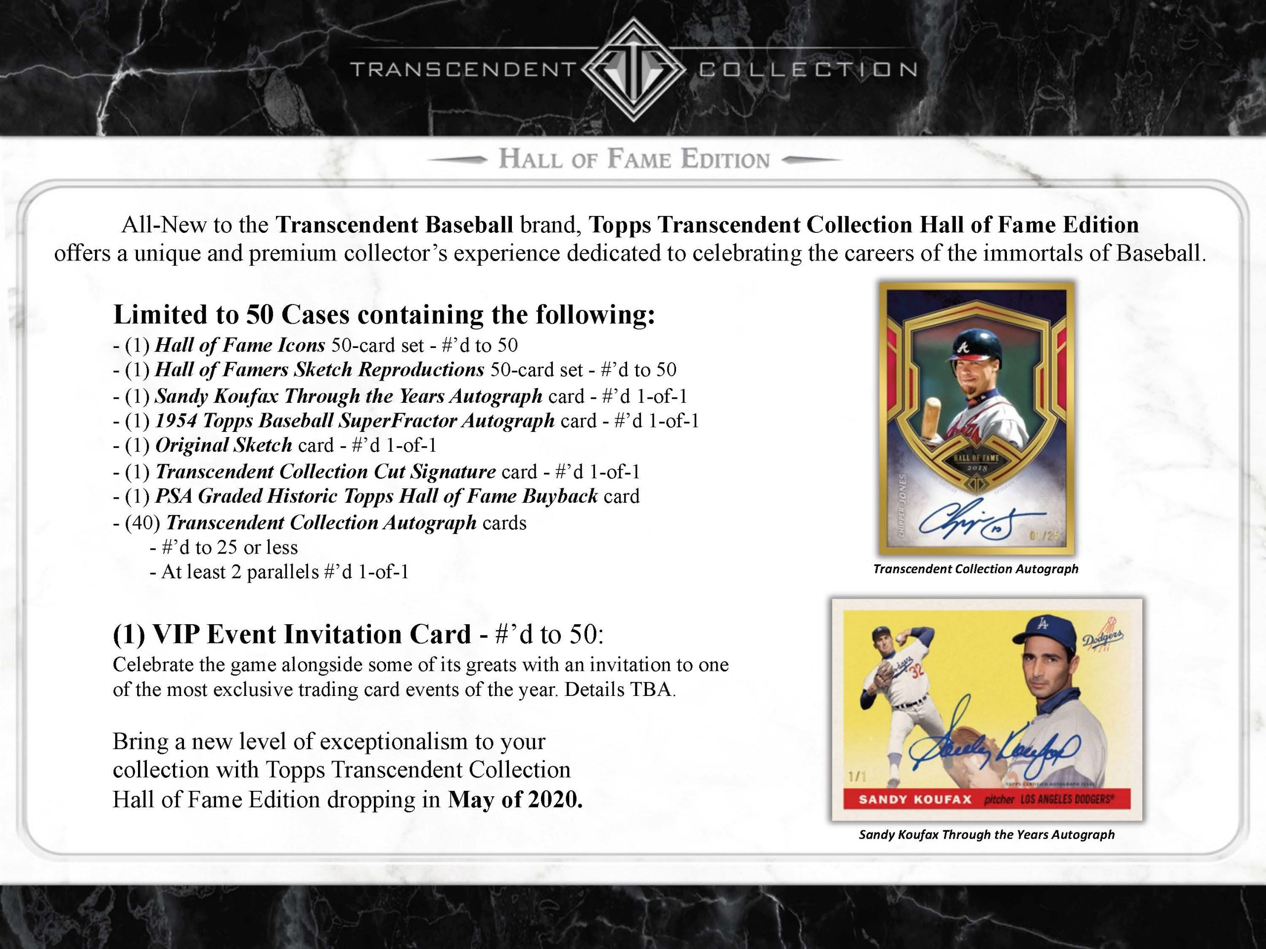 2020 Topps Transcendent Baseball Hall of Fame Checklist