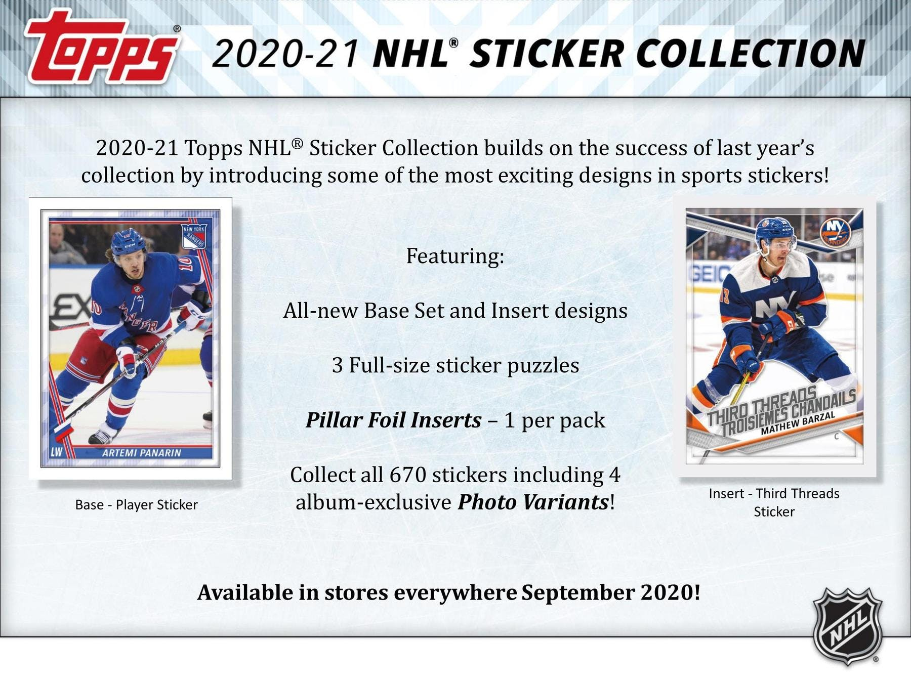 2020-21 Topps NHL Sticker Collection Checklist