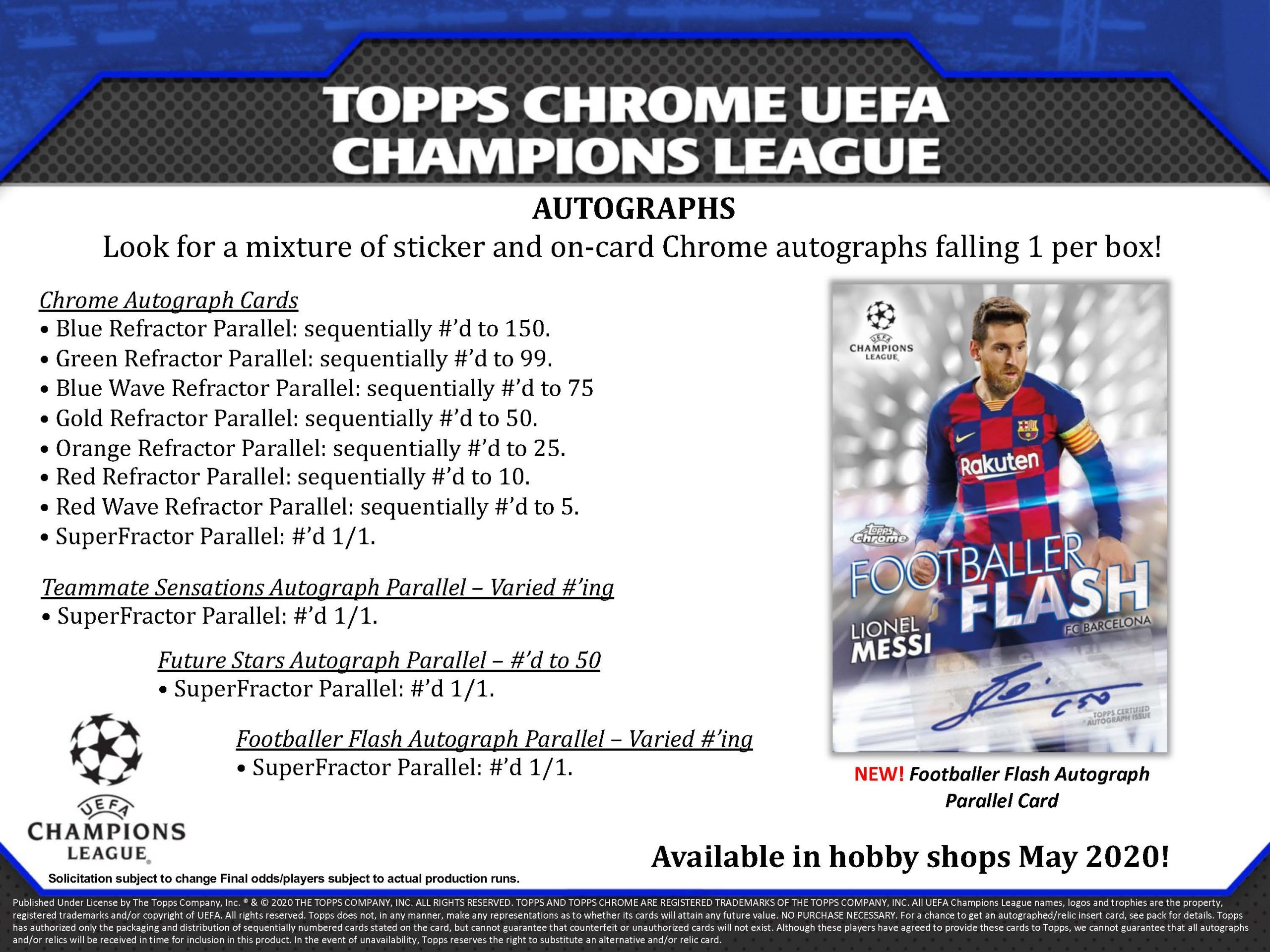 2019-20 Topps Chrome UEFA Champions League Soccer Checklist